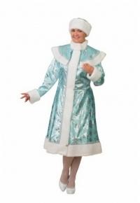 Снегурочка сатин бирюза со снежинками (для взрослых)